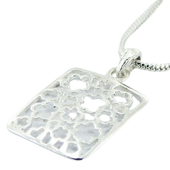 flowers shapes in silver rectangular pendant