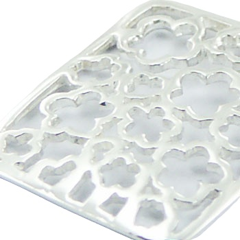flowers shapes in silver rectangular pendant 2