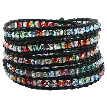 Five rows wrap bracelet with multicolored glass