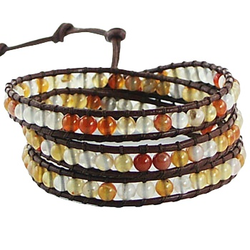 Triple row wrap bracelet with agate gemstones on leather